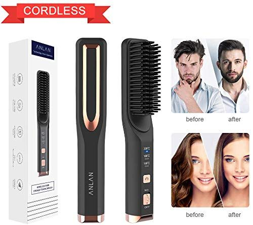 New Cordless Hair Straightener Anlan Ionic Hair Straightening Brush Cordless Beard Straightener Comb Hot Tools Fast Heating Anti Scald Adjustable Temperature In 2020 Hair Straightener Hair Brush Straightener Cordless Hair Straightener