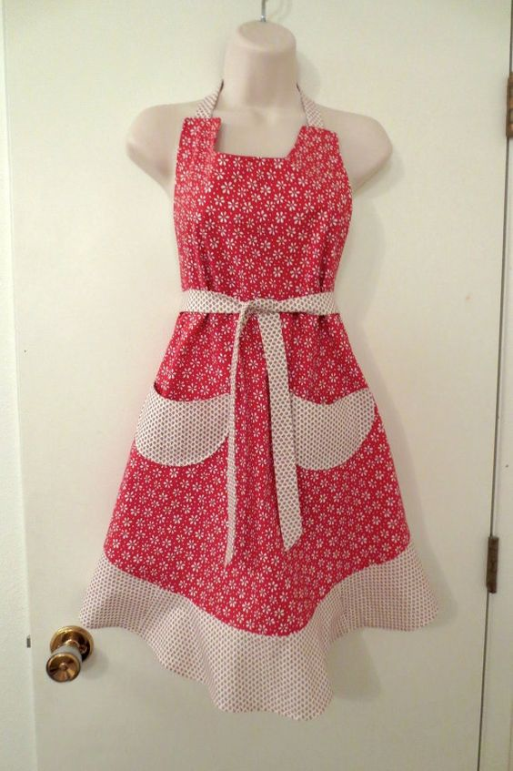 Red Floral Print Full Apron