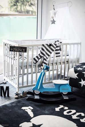 Cool Babyroom, baby bed, baby room design, rock star baby, baby bedding, stylisch baby room, baby boy room, nursery room, baby stuff, kids room, cool kids room, nursery room, black white room, bedroom for kids, baby bedroom, Rock Star Baby, Leggybuddy, Kids Stuff, cool rug, cool room, room design idea, boy room