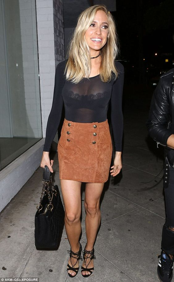 Sexy Mama! Kristin Cavallari revealed ample cleavage as she showed off a lacy bra underneath a sheer top for dinner at celebrity hotspot Craig's in West Hollywood on Tuesday