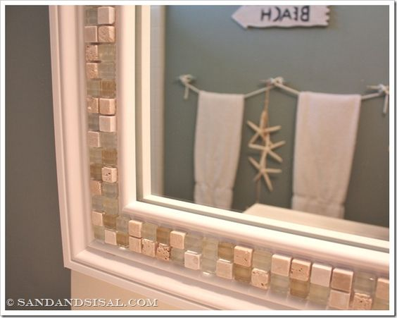 How to decorate a mirror with tile.  Also links to a tutorial of how to make a FRAME for your bathroom mirror (something I've wanted to do for years! :)