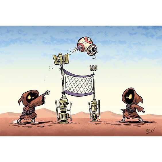 "regram @otisframpton I threw some color onto my ""BB-Ball"" drawing. And it's now available as a print! http://ift.tt/1jWmMXr #jawa #starwars"