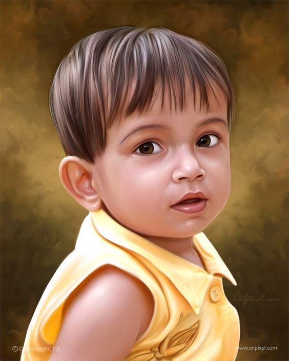 Kid Digital Portrait Painting by Oilpixel Art Pvt. Ltd. #kid ...
