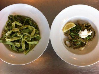 our staff's favorite springtime lunch - pesto + pasta!