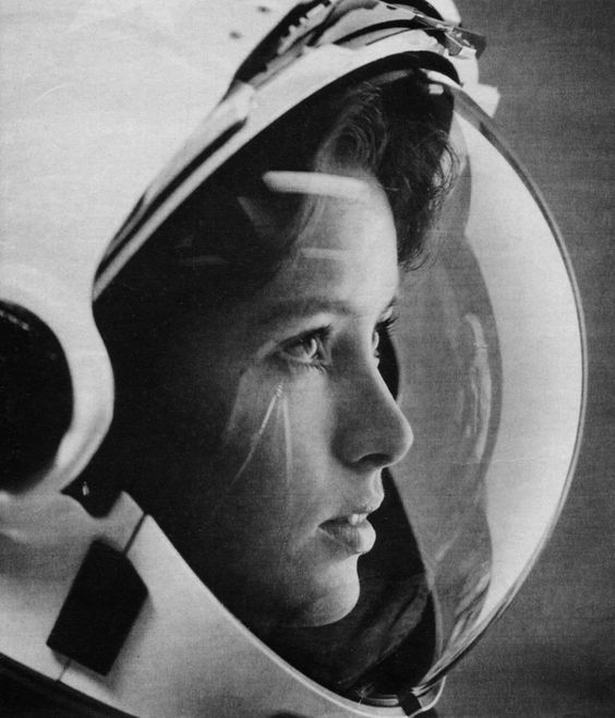 // Anna Fisher, astronaut, with stars in her eyes on the cover of Life magazine in 1985. She was the first mother in space.