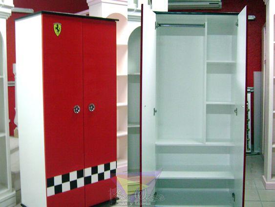 , ESTILO FERRARI #muebles para niños #ropero #closet #rojo #ferrari