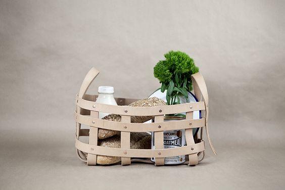 Leather Strap Large Basket - buyAMT Shop