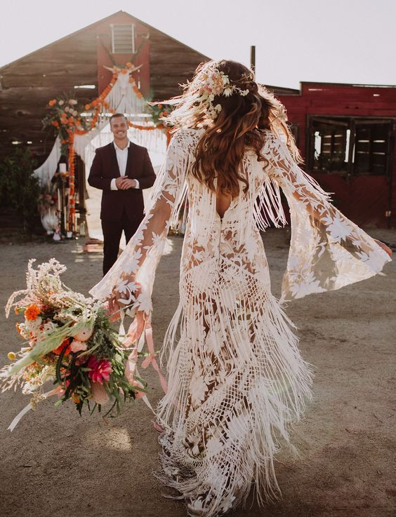 20 Stylish Fringe Wedding Dresses For Bohemian Brides Boho