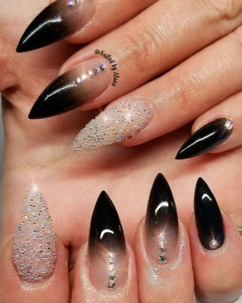 The Most Beautiful Black Winter Nails Ideas Stylish Belles Pink Stiletto Nails Shiny Nails Designs Black Ombre Nails
