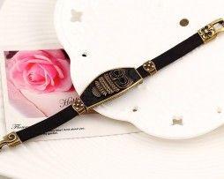 Bracelete Coruja Couro