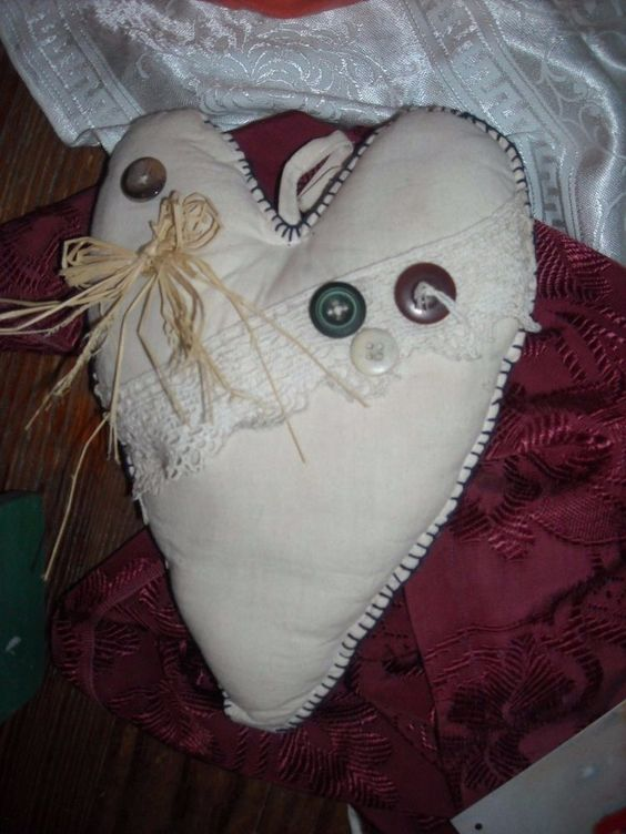 """primitive country cloth heart wall decoration hand crafted 10"""" for sale in my store The Chic N Prim cottage ebay have to put in the """"the """" in search engine $10 + FREE Shipping when you spend $30 or more! valentine"""