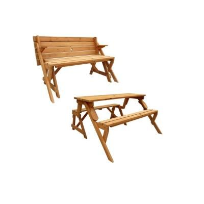 Leisure Season 55 in. x 58 in. x 30 in. Cedar Folding Picnic Table and Bench-FPTB7104 at The Home Depot $180