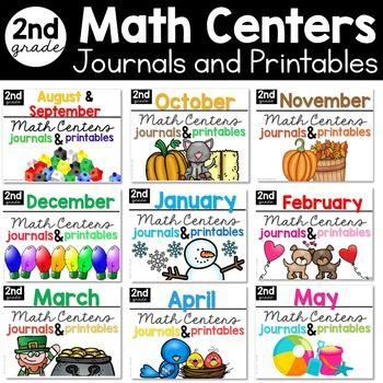 Second Grade Teachers,It's time to fill up those math rotation activities with standards based learning activities!  This is a bundle of the entire year's worth of the monthly sets containing centers, journals and printables.  This bundle is complete.