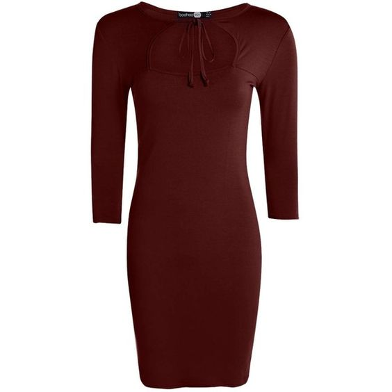 Boohoo Sophia Keyhole Bodycon Dress ($10) ❤ liked on Polyvore featuring dresses, going out dresses, red sequin dress, red cocktail dress, red bodycon dress and tuxedo dress