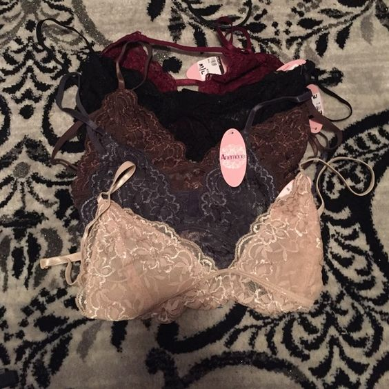 Set of 5 lace bras Sexy lace bras originally priced at $16 a piece but willing to sell as a set for a lower price. Size medium to a large but they run small. I would say for a b cup as I'm a 38c and they did not work. Never worn brand new Intimates & Sleepwear Bras