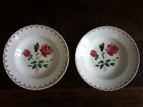 Vintage French Rose Plates