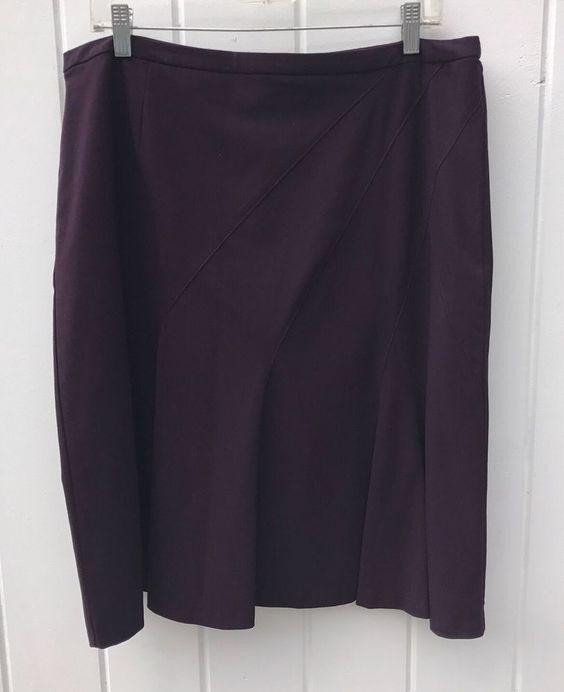 Worthington Works Stretch Plum Purple Knee Length Career Midi Flared Skirt - 16 #Worthington #Flared