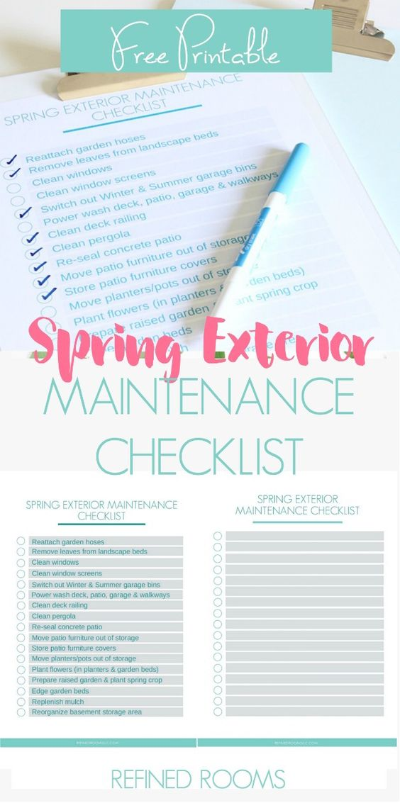 This free printable Spring Exterior Maintenance Checklist will help you plan out and keep track of all the tasks you need to do to prepare your home's exterior for the warm weather!Choose the completed version or the blank editable version to customize for yourself! #freeprintable #homemaintenance #homemaintenancechecklist #exteriormaintenance #springmaintenance #RefinedRooms