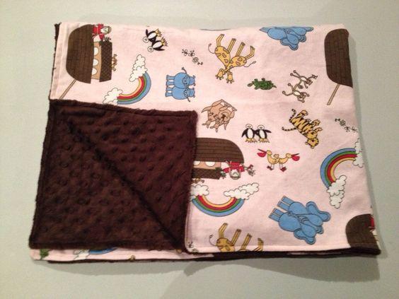 Noah's Ark Minky Baby Blanket.