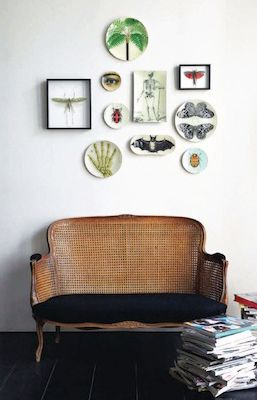 rattan sofa and black velvet