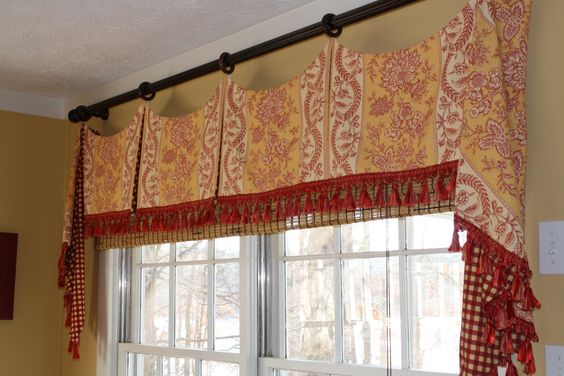 yellow and red toile french country window treatment by. Black Bedroom Furniture Sets. Home Design Ideas