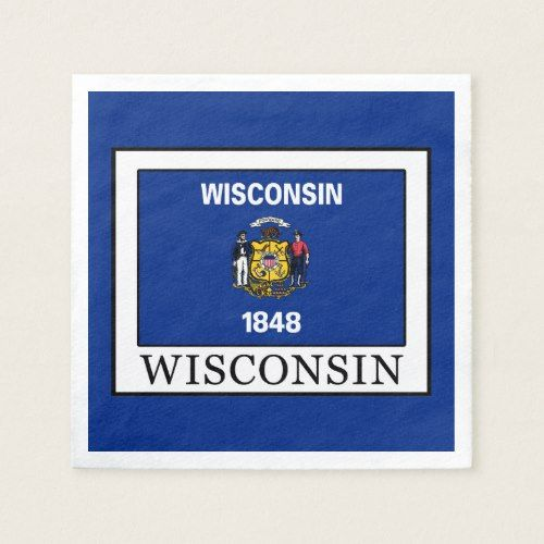 Wisconsin Napkin Personalized Custom Paper Party Napkins Party Napkins