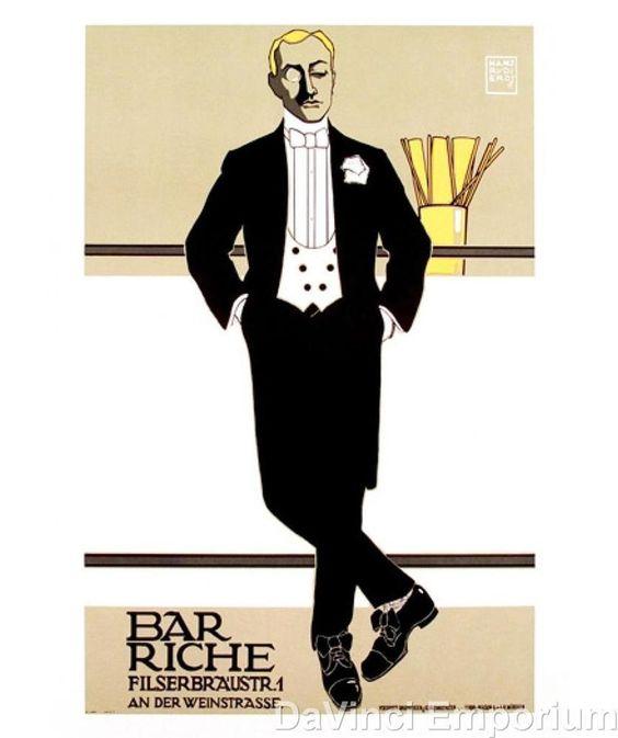 Bar Riche German Vintage Fashion Poster Fine Art Lithograph Hans Rudi Erdt S2 #ArtDeco