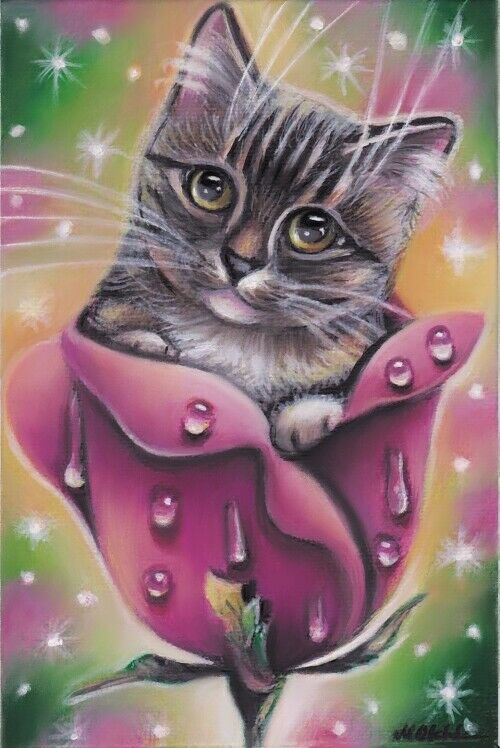 Gray Tabby Cat Kitten Fantasy Rose Flower Spring Original 4x6