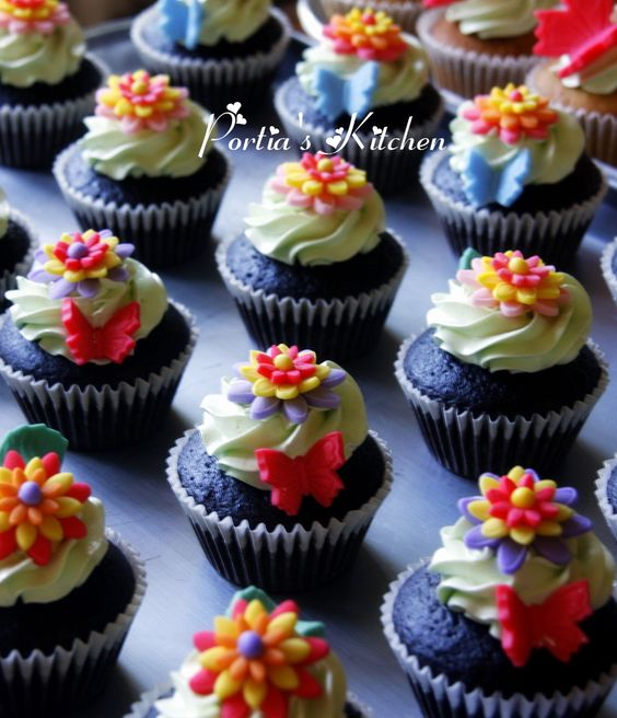 Butterfly Garden inspired theme Chocolate Cupcakes
