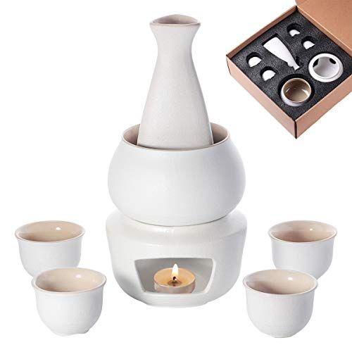 Lyty Saké Ensemble De 7 Tasses Et Tasses Avec Chauffe Eau En Porcelaine Japonaise Poterie Japonaise 7 Pièce Porcelaine Japonaise Réchaud à Bougie Saké Japonais
