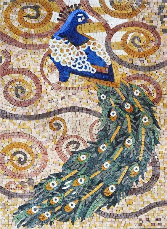 Artistic Design Peacock Mosaic Stone Art: