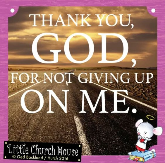 ♡✞♡ Thank you, God, for not giving up on me. Amen...Little Church Mouse 25 August 2016 ♡✞♡