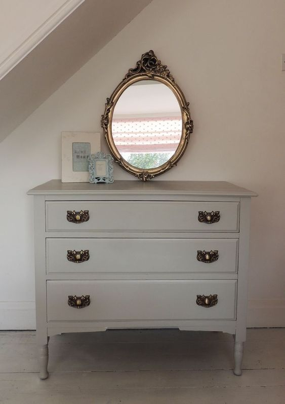 Painted Grey Shabby Chic Chest of Drawers in Farrow and Ball Pavilion Gray in Home, Furniture & DIY, Furniture, Chests of Drawers   eBay