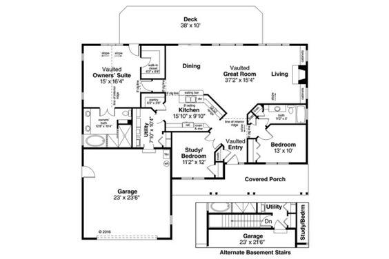 Ranch Style House Plan - 3 Beds 2 Baths 1884 Sq/Ft Plan #124-862 Floor Plan - Main Floor Plan - Houseplans.com