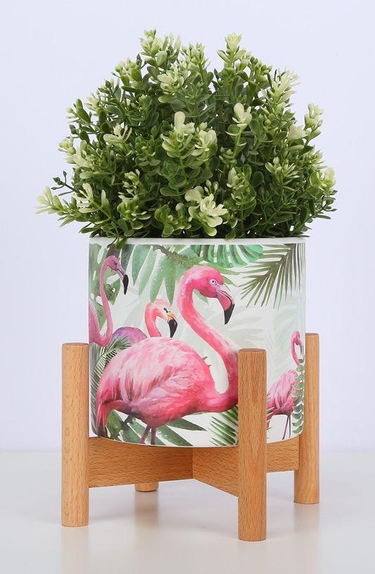 Flamingo Design Ceramic Planter Wood Stand Just Pink About It Wood Plant Stand Planter Wood Stand Ceramic Plant Pots