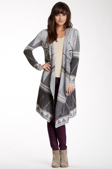 Printed Hoodie Duster Sweater on HauteLook
