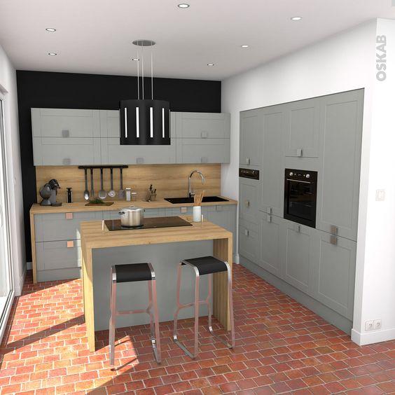 Cuisine plan de travail and foyers on pinterest for Cuisine rustique grise