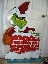 HAND MADE, GRINCH IN CHIMNEY CHRISTMAS YARD ART DECORATION