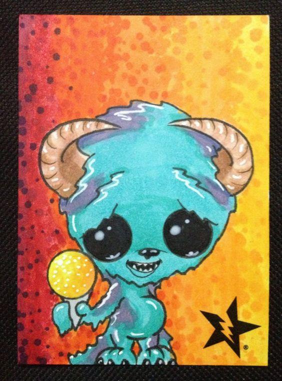 Sugar Fueled Sulley Sullivan Monster Inc. Sno Cone lowbrow creepy cute big eye ACEO mini print on Etsy, $4.00