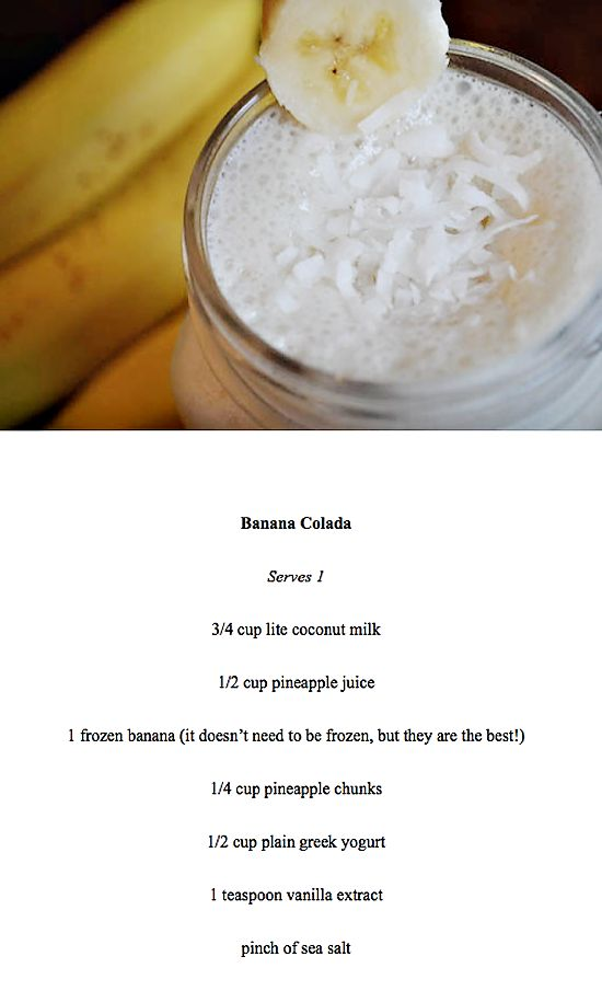 banana colada and a (little bit) healthier than the norm