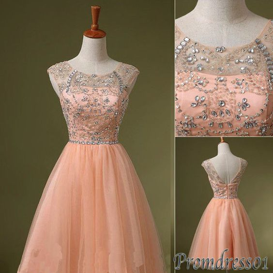 #promdress01 prom dresses, vintage pink tulle beaded open back mini prom dress for teens, bridesmaid dress,occasion dress #wedding -> www.promdress01.c... #coniefox #2016prom