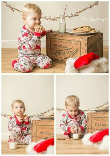 Studio Christmas mini session, baby, toddler, kids, milk and cookies, waiting for Santa, pjs: