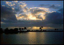 Sunrays and clouds at sunrise, Bayfront. Biscayne National Park, Florida, USA.  Tonya