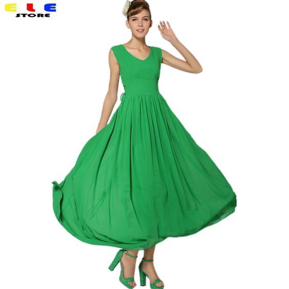 Goedkope Vrouw Casual 2016 Nieuwe Stijl Zomer Jurk Groene Chiffon Vrouwen Elegante Lange Maxi Jurken Koreaanse V hals Mouwloze, koop Kwaliteit jurken rechtstreeks van Leveranciers van China: Wij verschepen gewoonlijk de bestelling in 3-7 werkdagen, maak je geen zorgen, dankzijKan er een beetje kleur verschil t