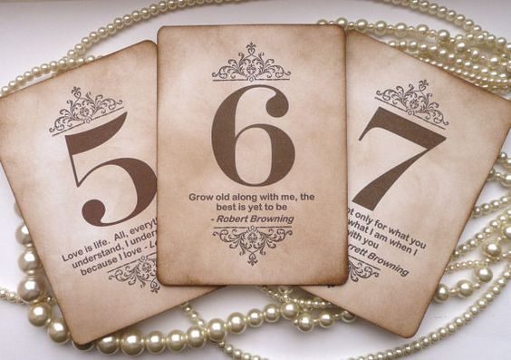 Wedding Table Numbers Vintage Table Numbers Quotes by amaretto