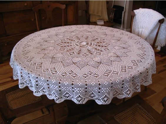 Free Easy Crochet Tablecloth Patterns For Beginners : Round tablecloth, Tablecloths and Crochet patterns on ...