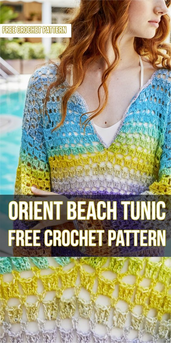 Orient Beach Tunic Free Crochet Pattern #tunic #freecrochetpatterns #crochet #crochetlove #style #fashion #summeroutfit