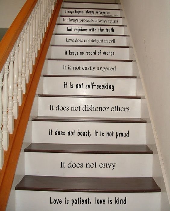 Foyer Stairs Quote : Stair decals wall quotes love is patient