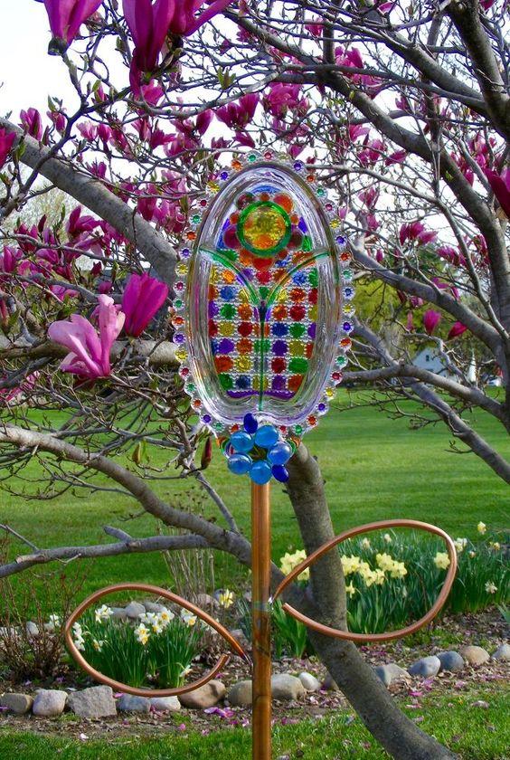 Flea Market Collection of Various Glass Serving Platters Painted, Floral,  Garden  Art...
