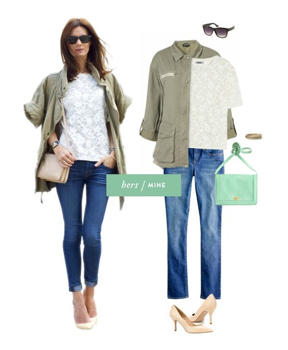 This isa cute outfit- it's also a link to a blog series called: hers mine vmac: Nicefashion Armyskinny, Boyfriend Jeans, Skinny Jeans, Army Green Jackets, Army Jackets